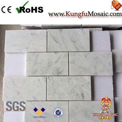 Mosaico de Rectángulo de Mármol Blanco de Carrara