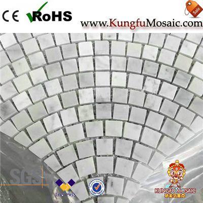 Patrón ventilador ladrillo Cararra mosaico de mármol