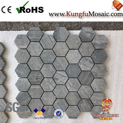 Grey Marble Hexagon Mosaics For Sale