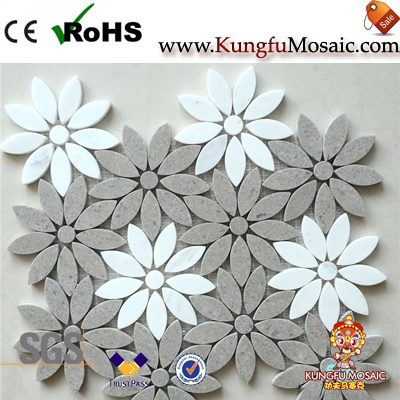 Grey White Flower Marble Mosaic Tile