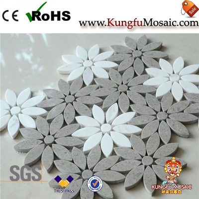 Grey White Flower Marble Mosaic Tile