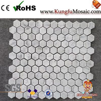 Hexagon Carrara White Mosaic Tiles