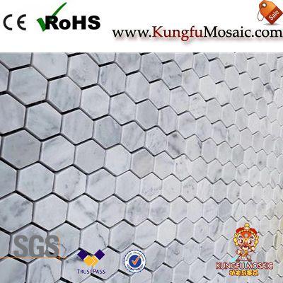 Hexagon Carrara White Mosaic Tiles