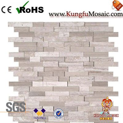 Interlocking Pattern Splitface Wood Marble Mosaic