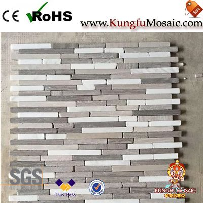 Linear Strips Wooden Marble Mosaic