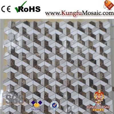 Polish 3D Marble Mosaic Floor Tiles