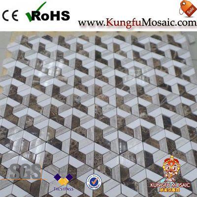 Polish 3D Marble Mosaic Floor Tiles