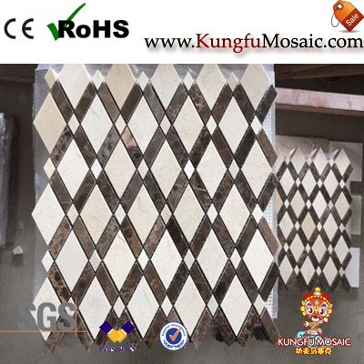 Polish Marble Diamond Mosaic Wall Tile