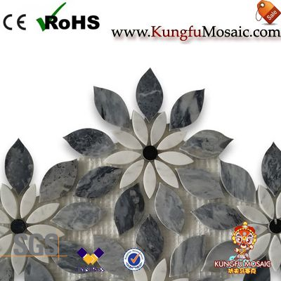 Rain Flower Marble Waterjet Mosaic Tile