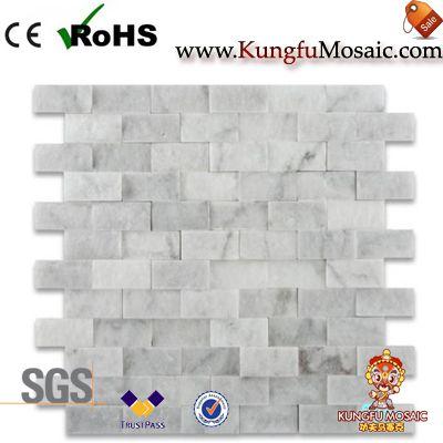 Cara dividida Carrara mosaico de mármol blanco