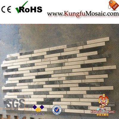 White and Grey Marble Mosaic for Wall