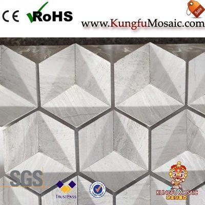 Wood 3D Marble Mosaic Tiles