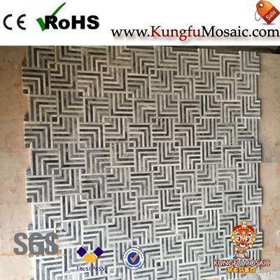 Cross Carrara Marble Floor Mosaic Tiles