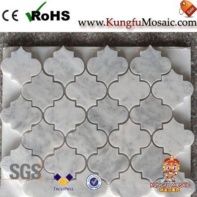 Carrara Marble Mosaic In Arabesque Design