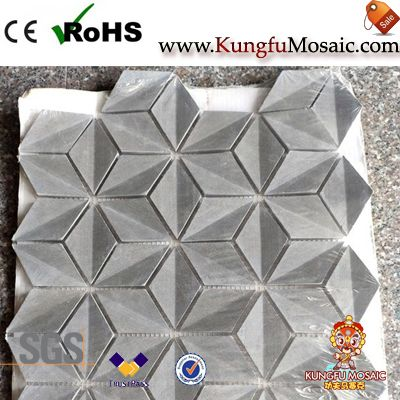 Gray 3D Marble Mosaic Wall Tile