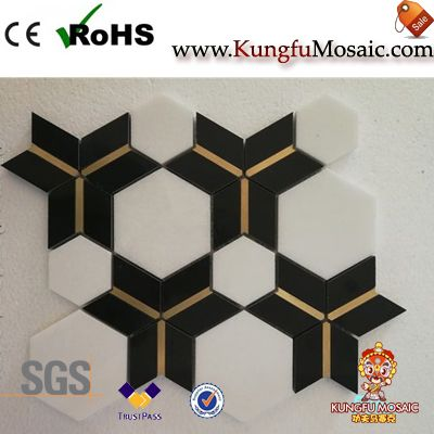 Hexagon Waterjet Marble Mosaic Tile