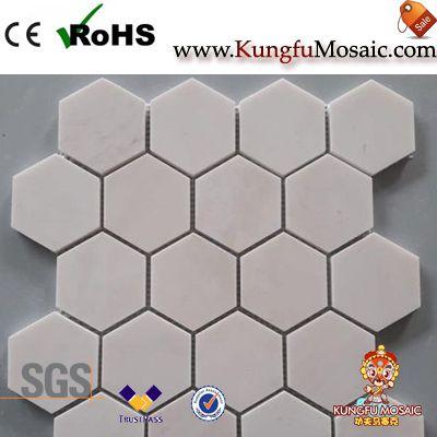 Tiille de mosaïque de marbre beige lactée d'Hexagone