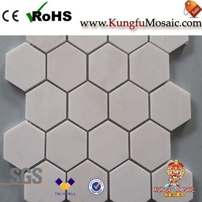 Milky Beige Hexagon Marble Mosaic Tile