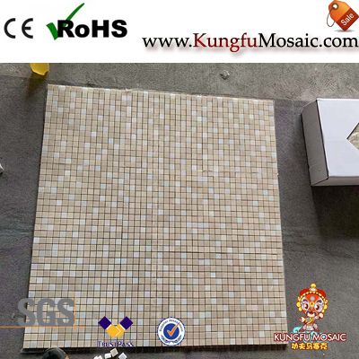 Mixed White And Beige Marble Mosaic Square