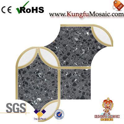 Carreaux de mosaïque de terrazzo noir de perle