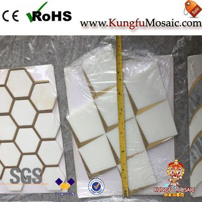 Square White Marble Mosaic With Brass