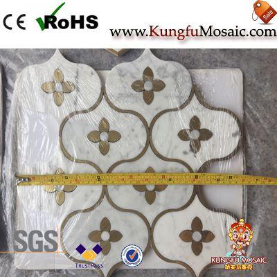 Tile de mosaïque de marbre de coupe de jet d'eau
