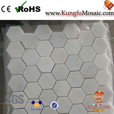 White Hexagon Marble Mosaic on Sales