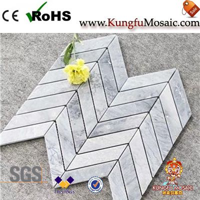 Fish Bone Carrara Grey Marble Mosaic