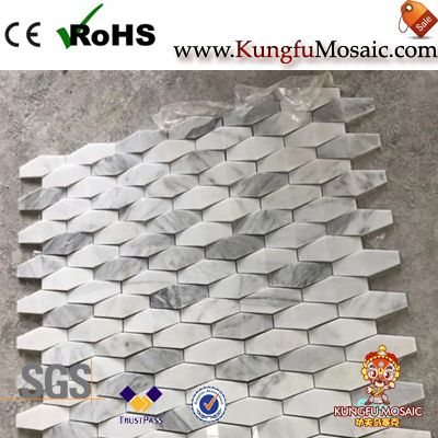Hexagon 3D Carrara White Marble Mosaic Wall