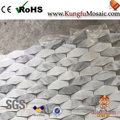Hexagon 3D Carrara White Marble Mosaic Wall