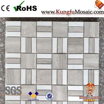 Square Pattern Wooden Marble Mosaic