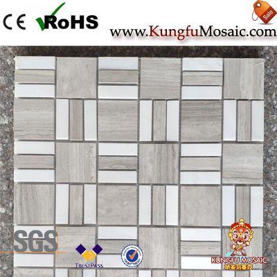 QuadratischeMuster Holz Marmor Mosaik