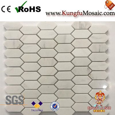 Vietnam White Marble Hexagon Mosaic