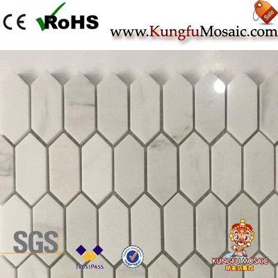 Vietnam White Marble Hexagon Mosaic