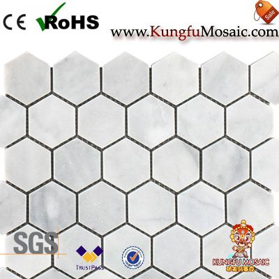 carrara marble hexagon mosaic tiles