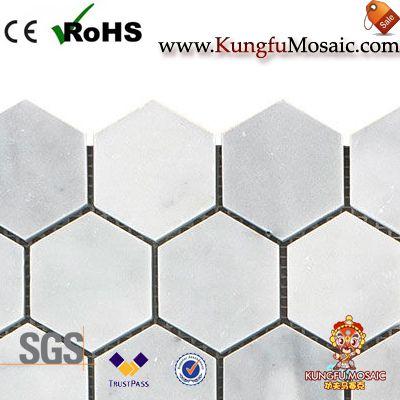carreaux de mosaïque hexagonale en marbre de carrara