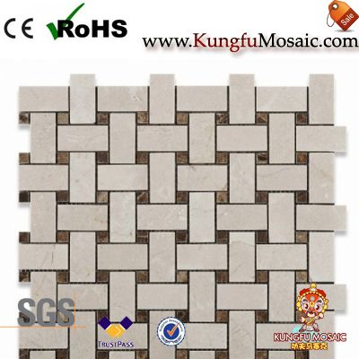 Mosaïque de marbre de Basketweave Crema Marfil