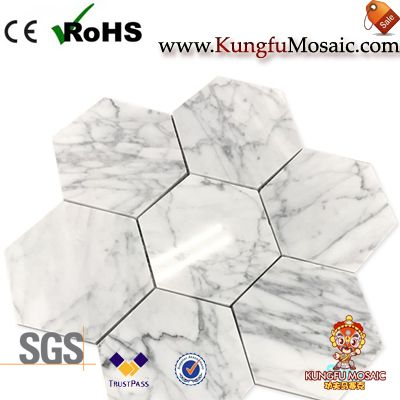 Carrara Hexagon Marble Mosaic Flooring Tiles