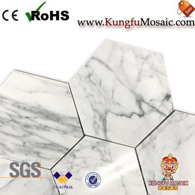 Carrara Hexagon Marble Mosaic Flooring Tiles