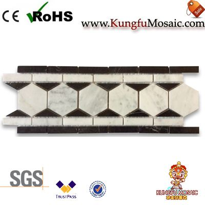 Hexagone Marbre Mosaic Border Listello Tile