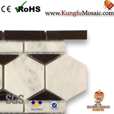 Hexagon Marble Mosaic Border Listello Tile