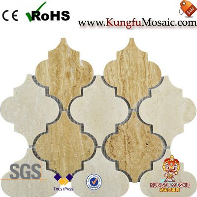 Polished Beige Marble Arabesque Mosaic