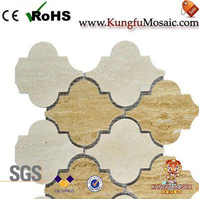 Polished Beige Marble Arabesque Mosaic