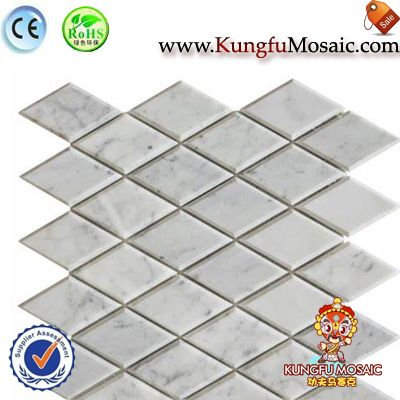 Carrara Marble Beveled Rhomboid Mosaic Tiles