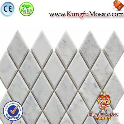 Carrara Marble Beveled Rhomboid Mosaic Tiles