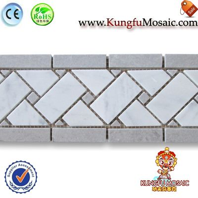Carrara Marble Border Basketweave Tile