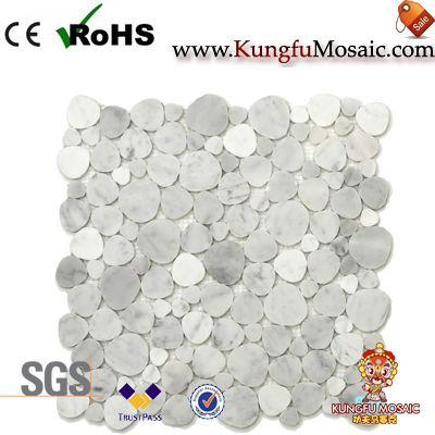 Heart Shape White Carrara Marble Mosaic Tile