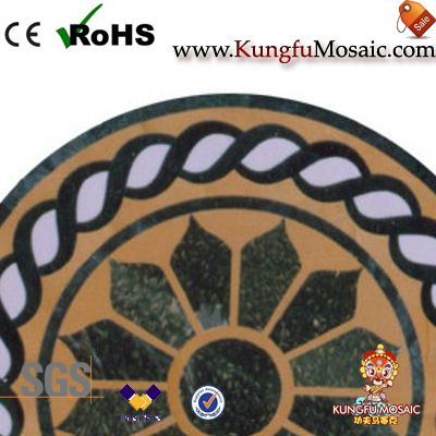 Round Green Marble Floor Medallion