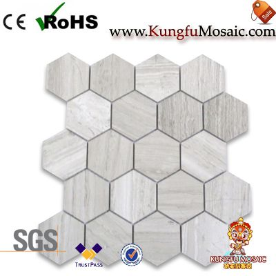 White Wood Grain Marble Hexagon Mosaic Tile