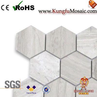 Белая древесина Зерна Мраморная шестиугольник Мозаика плитка